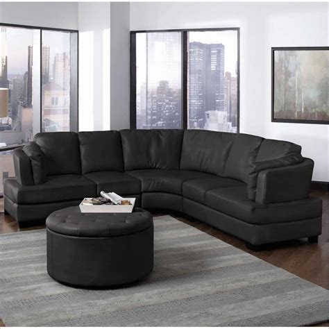 leather curved sectional landen contemporary curved leather sectional in black 503106