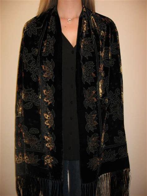 Pashmina Satin Velvet Evening Black Burnt Silk Velvet Shawl Wrap