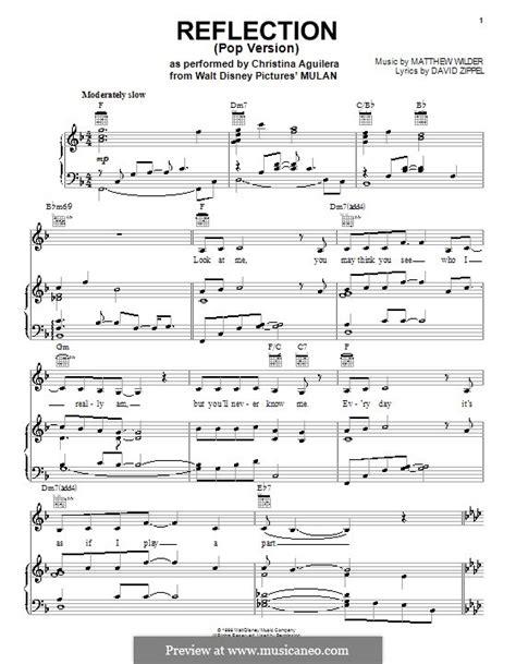 printable vocal sheet music free reflection from disney s mulan by m wilder sheet
