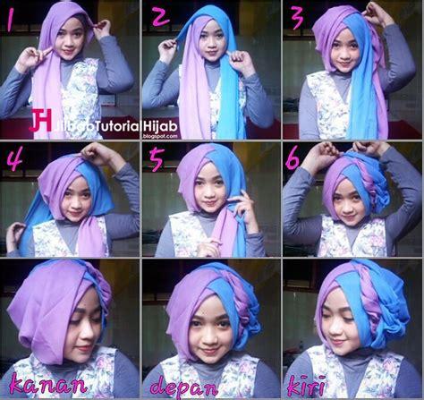tutorial jilbab turban layer tutorial hijab segi empat 2 warna untuk wisuda dan lebaran