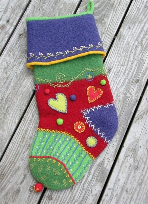 pattern for crazy quilt christmas stocking pattern booklet a knit felt crazy quilt holiday