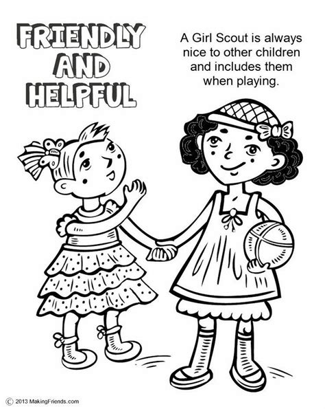 Girl Scout Brownie Coloring Pages Coloring Home Scout Coloring Pages With Promise Printable
