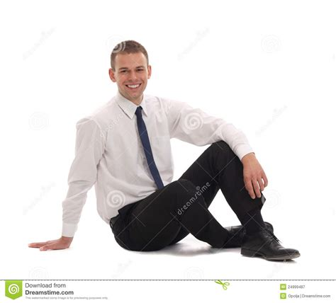 Sitting On The by Business Sitting On The Floor Royalty Free Stock