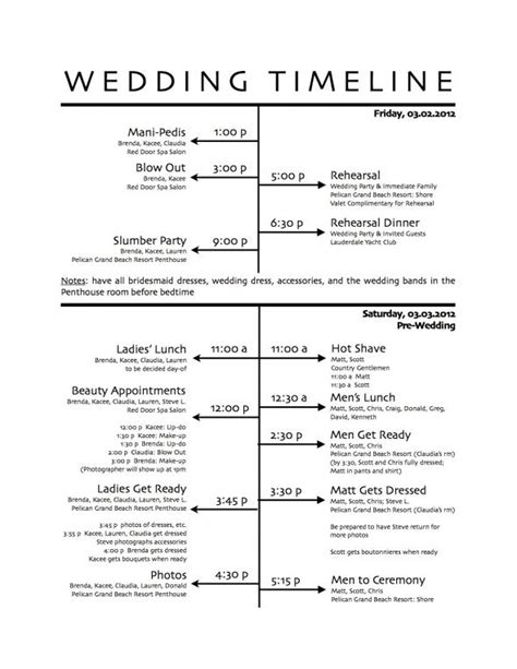 How To Create A Wedding Reception Timeline Wedding Photography Itinerary Template