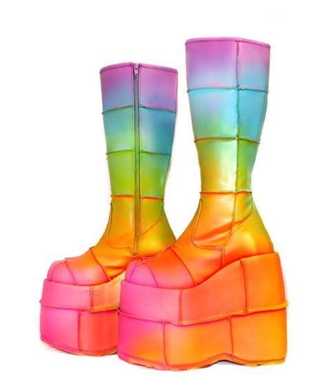 shoes boots rainbow platform shoes wear
