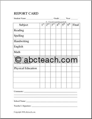 esl report card template report card homeschool abcteach