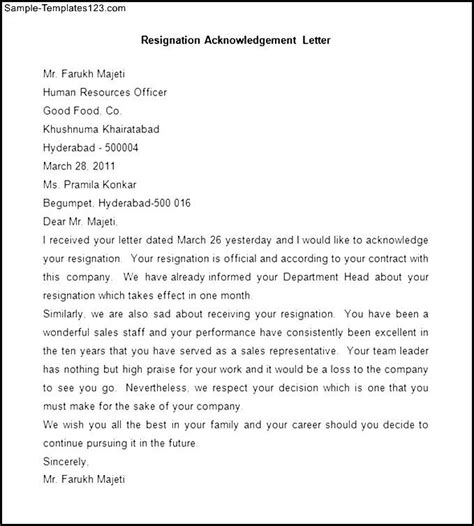 Acknowledgement Letter Product Sle Resignation Acknowledgement Letter Sle Templates