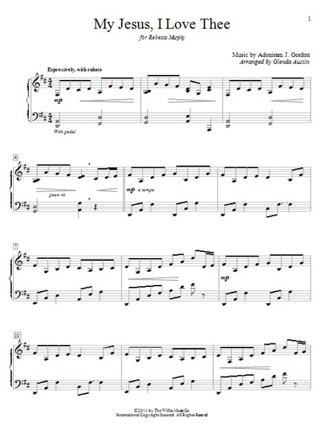 piano tutorial jesus is love my jesus i love thee sheet music by william r