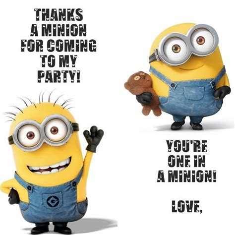 minion thank you cards template a bit of this a bit of that one in a minion minion