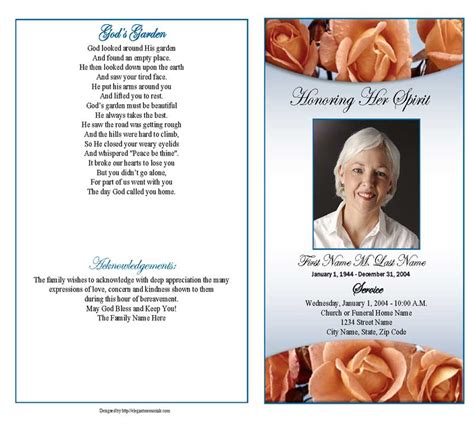 memorial template funeral program template memorial roses graduated fold