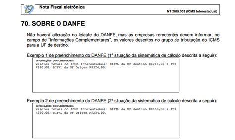 layout nf e difal nf e valida 231 227 o e regras do difal iniciam em julho de 2016