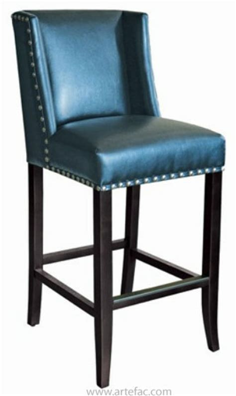 blue bar stools kitchen furniture sr 100531 wing back bar counter stool in blue leather w silver nail