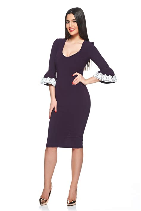48371 Dress Every starshiners purple dress with butterfly sleeves embroidery