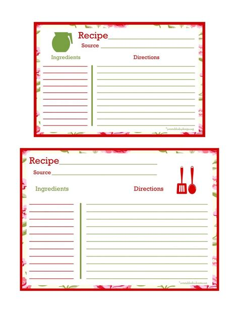 printable recipe cards 5x7 106 best images about free recipe cards pages on pinterest