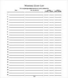 guest list template word guest list templates 9 free word pdf documents