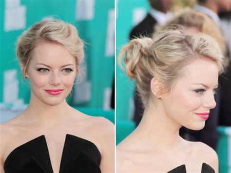 emma stone updo hairstyles emma stone updo steal emma s romantic updo hairstyle