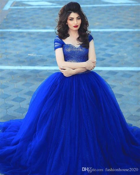 Arabic Design Royal Blue Puffy Wedding Dresses Cap Sleeve Fully   Wedding Dress Ideas