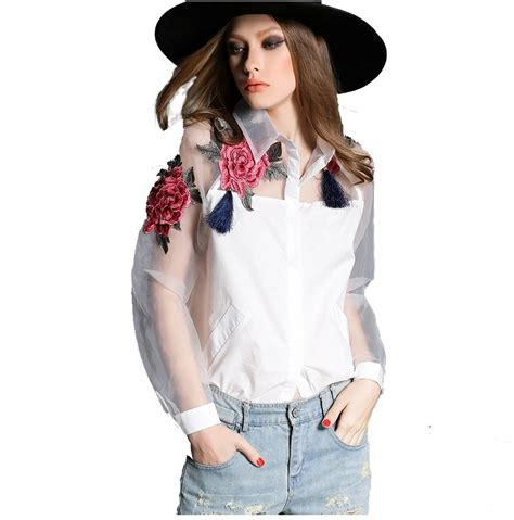 Flower Blouse S M L White Black 31311 aliexpress buy 2015 new and summer blouse