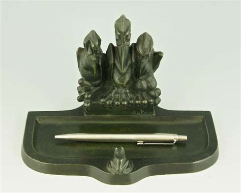 Frog Desk Accessories Deco Tray With Three Pelicans Staring At A Frog By