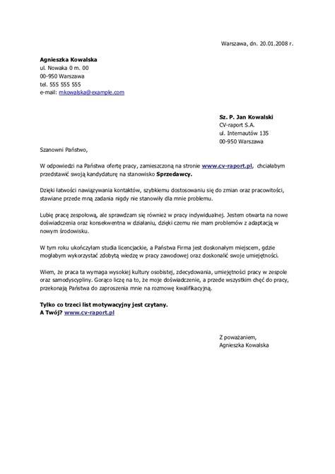 list motywacyjny list motywacyjny sprzedawca