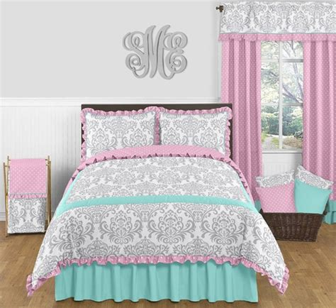 pink and turquoise bedding pink gray and turquoise skylar 3pc full queen girls