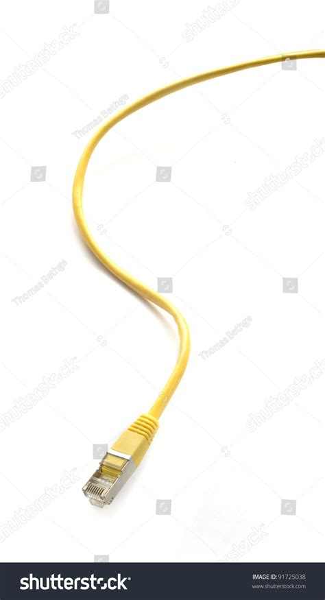 yellow network cable isolated on white stock photo