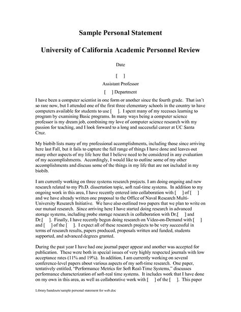 Grad School Personal Statement Exles Mba by Sle Personal Statement For Grad School Application