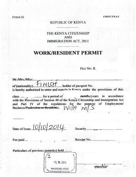 Letter For Work Permit Eregulations Kenya