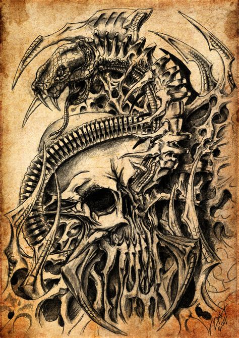 skull and snake biomech by zmeymh on deviantart