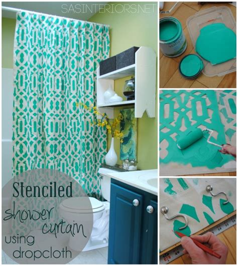 diy stenciled shower curtain using drop cloth best home