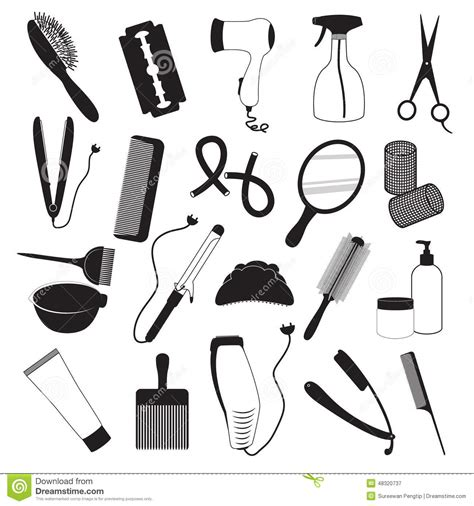 Set Aa Black White hairdressing and barber shop icons set stock vector