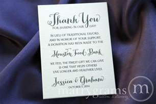 favors donation table card vertical in lieu of traditional favors