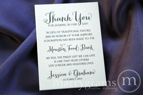 Thank You Note For Donation In Lieu Of Flowers Vertical In Lieu Of Traditional Favors Donation Table Card Thick Style