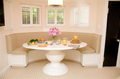 curved dining banquette   white oval dining table