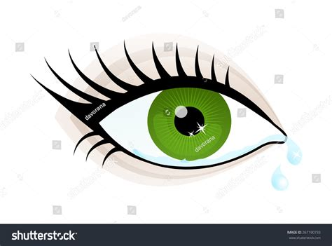 beautiful green color beautiful green color eye cry stock vector 267190733