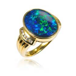 Opel Ring Real Stones On Black Opal Ring Opals