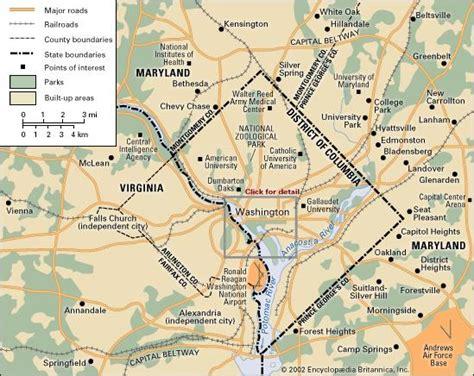 washington dc map surrounding states washington d c britannica