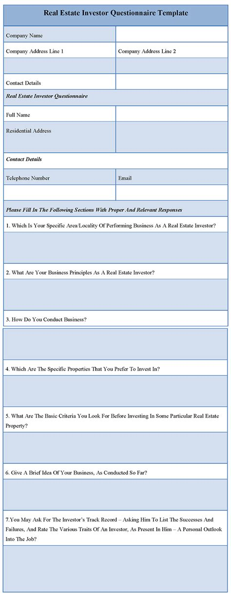 real estate investor questionnaire template sle templates
