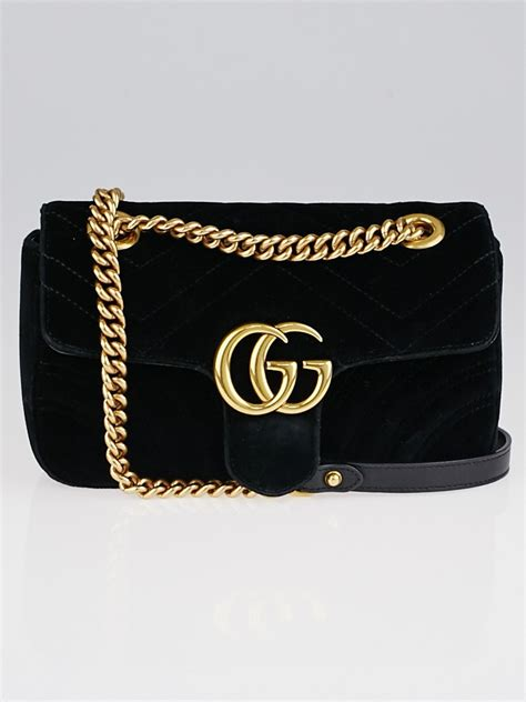 gucci black quilted velvet gg marmont shoulder bag yoogi