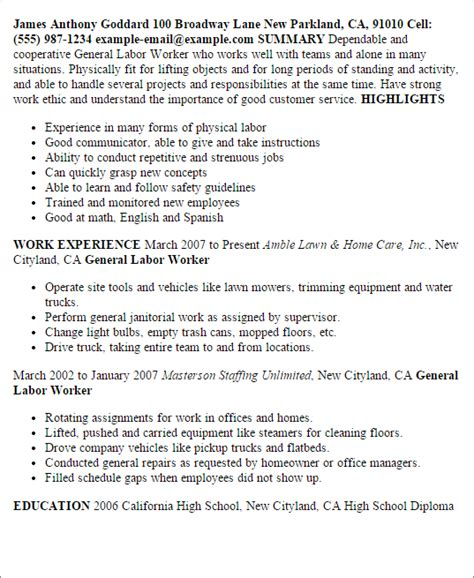 Sle Of A General Labor Resume professional general labor templates to showcase your talent myperfectresume