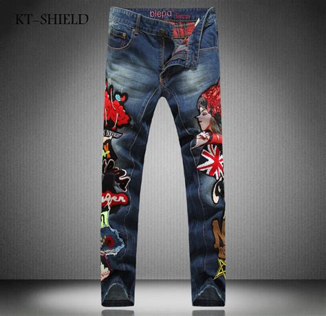 patterned jeans trend printed men jeans fashion embroidered cotton man cargo