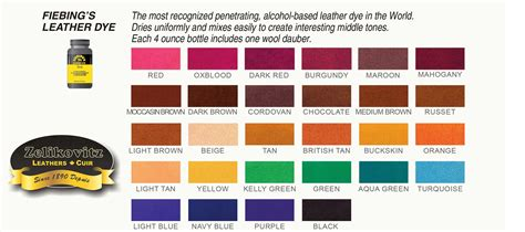 leather colors fiebing s leather dye 28 colors 4 ounce bottle fiebings