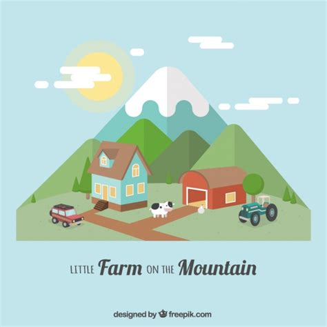 farm layout design software free download farm with nice mountains in flat design vector free download