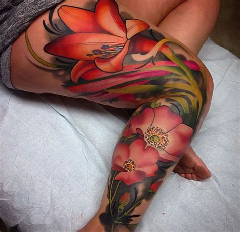 tattoo flower woman leg beautiful flowers tattoo on leg sleeve