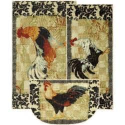 Mohawk Kitchen Rug Sets Black Ivory Country Rooster Damask Kitchen Area Rug Carpet 3pc Set Ebay