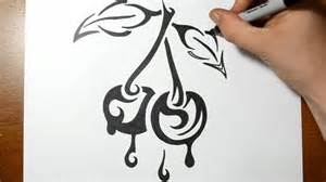 how to draw dripping cherries tribal tattoo design style
