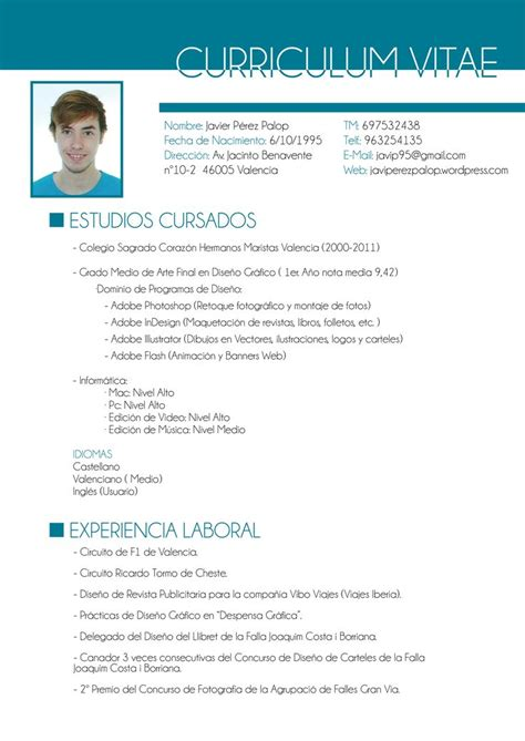 10 best ideas about curriculum vitae en espa 241 ol on creative cv template carta de