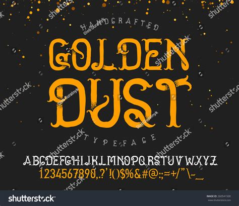 Handcrafted Font - vintage decorative handcrafted font named golden wektor