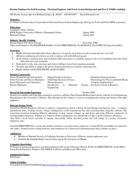 Resume Sle For Entry Level Engineer Electric Engineering Resume Sales Engineering Lewesmr