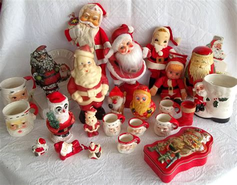 vintage christmas santa claus decorations 1940s 1980s 28
